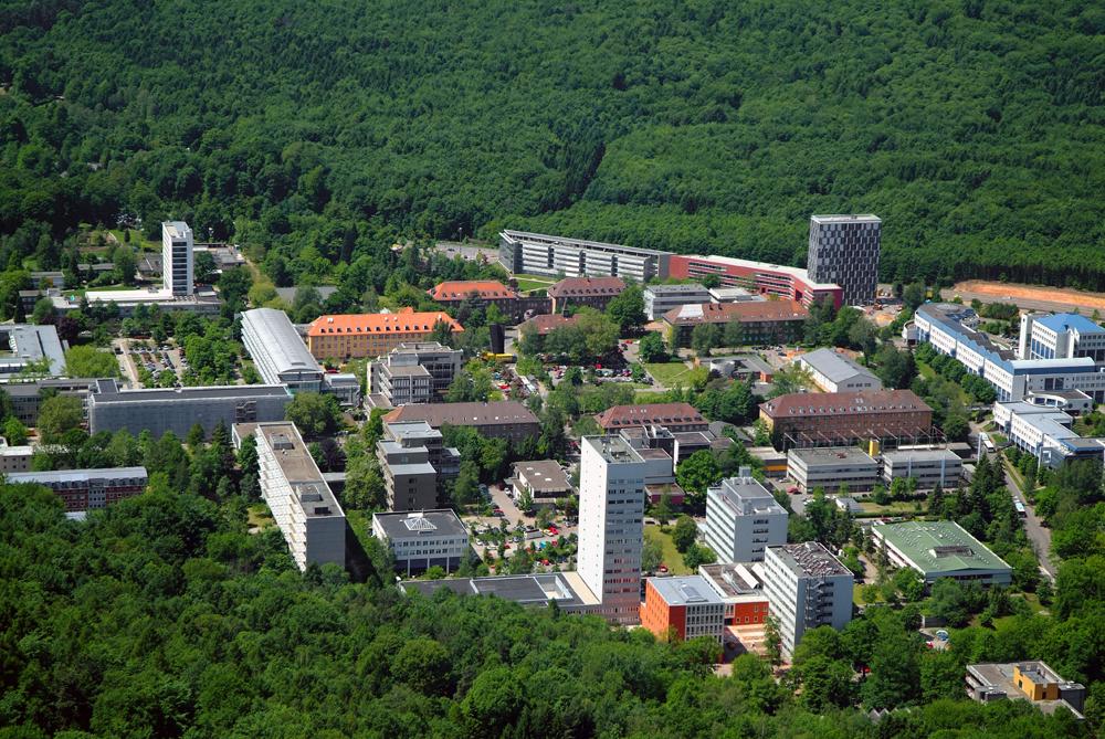 Luftbildaufnahme vom Saarbrücker Campus (Foto: Universität des Saarlandes/ Winkler)