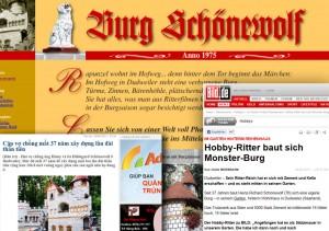Screenshots der Schönewolf-Homepage und der Berichterstattung im Internet (Quelle: Seitenbetreiber)