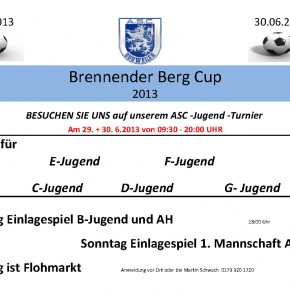 "ASC – Jugend Turnier ""Brennender Berg Cup"" am 29. – 30 Juni"