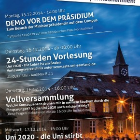 "Protestwoche ""Uni 2020 – Lehre ohne Zukunft"""