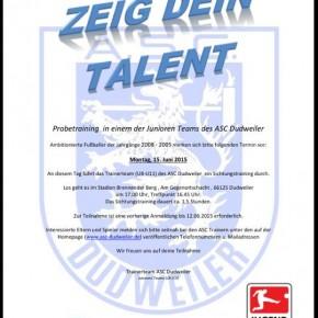 Einladung zum Juniorentraining Fußball des ASC Dudweiler