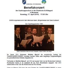 """Sulzbach hilft Benin"" – Benefizkonzert am 17. April"
