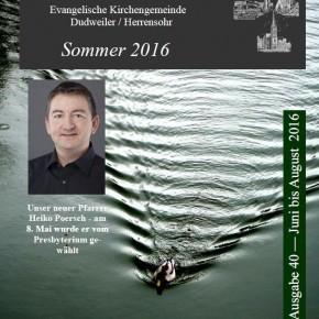Neuer Gemeindebrief – Juni bis August 2016
