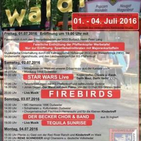 61. Waldfest der Kulturgemeinschaft 1955 Dudweiler-Pfaffenkopf e.V. vom 01. bis 04. Juli 2016