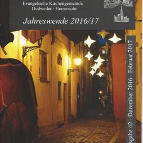 """Evangelischer Gemeindebrief zur """"Jahreswende 2016/17"""" ist da"""