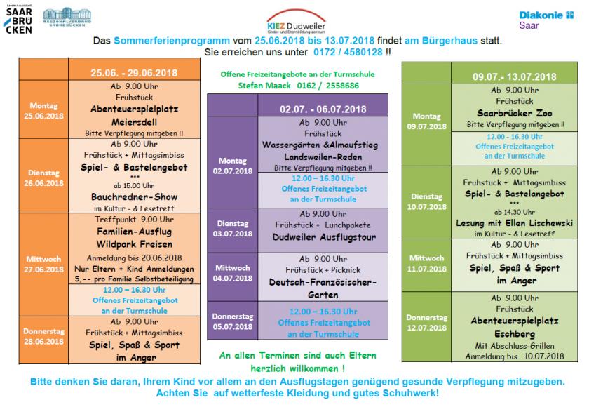 KIEZ Dudweiler Sommerferienprogramm 2018