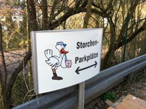 """Der """"Storchen-Parkplatz"""" am Dudweiler Krankenhaus"""