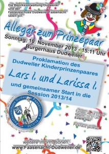 Plakat zur Prinzenproklamation 2013/2014 (Foto: Veranstalter)