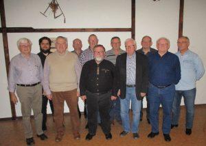 Foto: Verein; v.l.n.r. Günter Paul, Uwe Caspari, Dieter Hoff, Rainer Montada, Horst Berndt, Willi Buchmann, Gerd Stephan, Helmut Volz, Kurt Linn, Peter Reichrath, Karl-Heinz Flach
